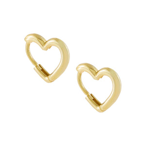 Gold Mini Solid Heart Huggie Earring - Adina's Jewels
