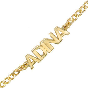 Gold Mini Nameplate Bracelet - Adina's Jewels