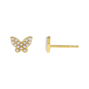 Pearl White Mini Pearl Butterfly Stud Earring - Adina's Jewels