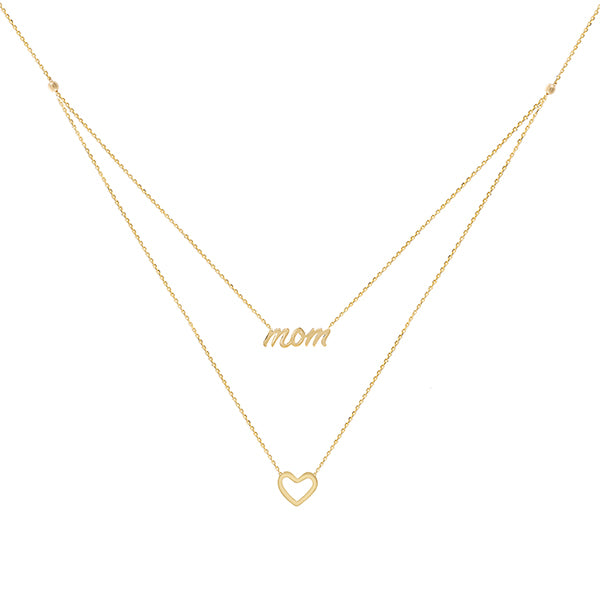 Mom X Open Heart Necklace 14K - Adina's Jewels