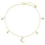 Gold CZ Celestial Dangling Charms Anklet - Adina's Jewels