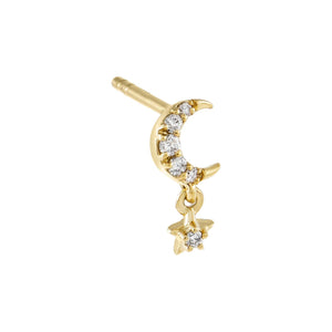 14K Gold / Single Diamond Mini Celestial Stud Earring 14K - Adina's Jewels