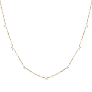 Diamond Multi Baguette Necklace 14K - Adina's Jewels