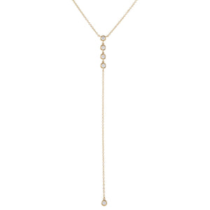 14K Gold Diamond Bezel Lariat 14K - Adina's Jewels