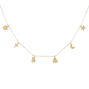 Solid Dainty Charms Necklace 14K 14K Gold - Adina's Jewels