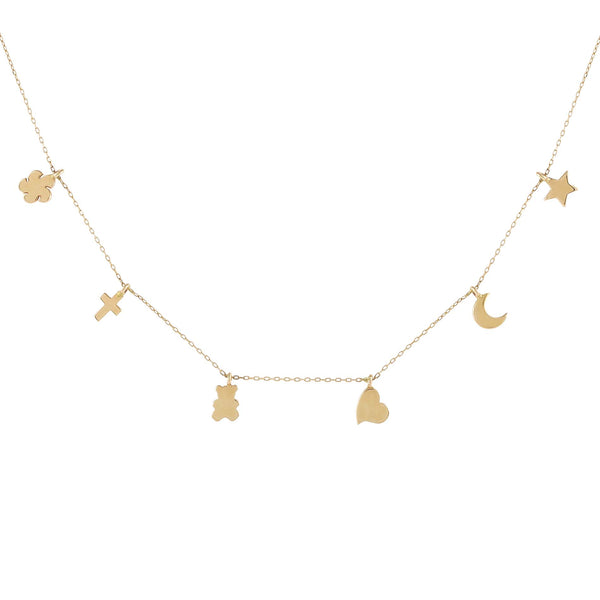 14K Gold Solid Dainty Charms Necklace 14K - Adina's Jewels