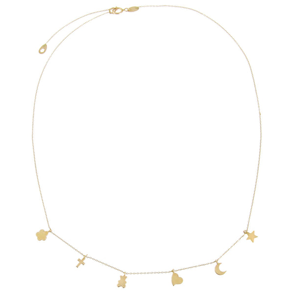 Solid Dainty Charms Necklace 14K - Adina's Jewels