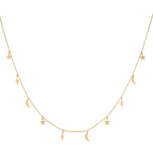 14K Gold Celestial Necklace 14K - Adina's Jewels