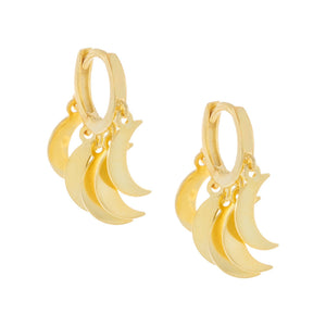 Crescent Dangling Huggie Earring Gold - Adina's Jewels