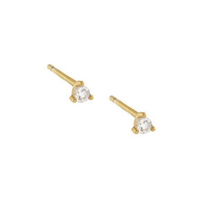 Gold Tiny CZ Stone Stud Earring - Adina's Jewels
