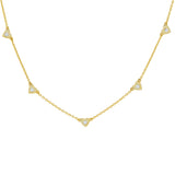 Gold CZ 5 Heart Necklace - Adina's Jewels