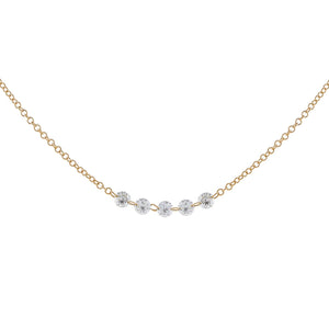 Floating Multi Diamond Necklace 14K 14K Gold - Adina's Jewels