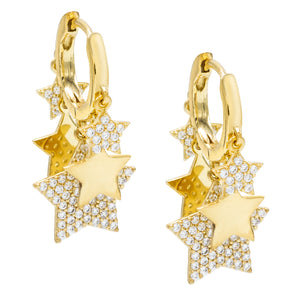 Dangling Stars Huggie Earring Gold - Adina's Jewels
