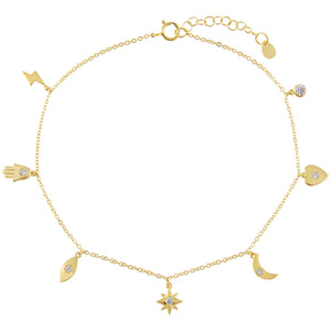 Gold CZ Dangling Charms Anklet - Adina's Jewels
