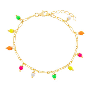 Multi Neon Link Anklet Multi-Color - Adina's Jewels