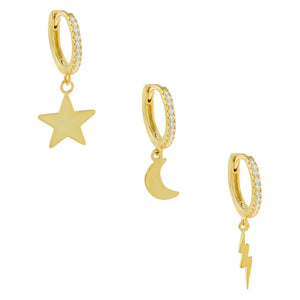 Gold CZ Celestial Earring Combo Set - Adina's Jewels