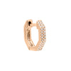 14K Rose Gold Diamond Octagon Double Row Huggie Earring 14K - Adina's Jewels
