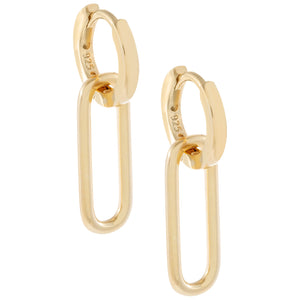 Oval Link Huggie Earring Gold - Adina's Jewels