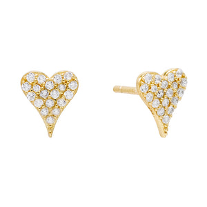 Gold Heart Pavé Stud Earring - Adina's Jewels
