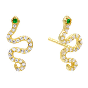 CZ Emerald Green Snake Stud Earring Emerald Green - Adina's Jewels