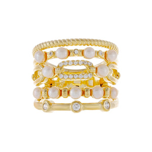 CZ Pearl X Rope Ring Gold / 6 - Adina's Jewels