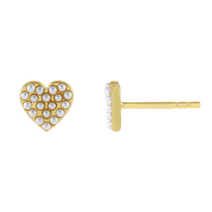 Pearl White Mini Pearl Heart Stud Earring - Adina's Jewels