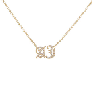 Diamond Gothic Double Initial Necklace 14K 14K Gold - Adina's Jewels