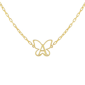 Gold / A Open Butterfly Initial Necklace - Adina's Jewels