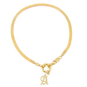 Gold / A Old English Initial Herringbone Anklet - Adina's Jewels