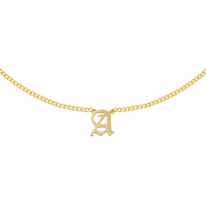 Gold / A Cuban Old English Necklace - Adina's Jewels