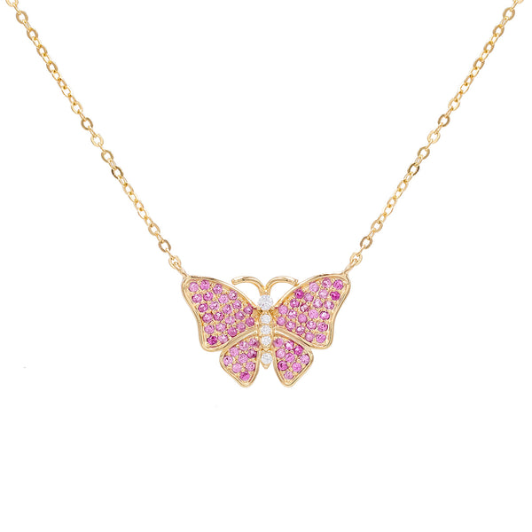 Sapphire Pink CZ Pink Butterfly Necklace - Adina's Jewels