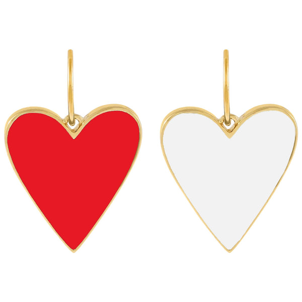 Red Double Sided Enamel Red X White Heart Charm - Adina's Jewels