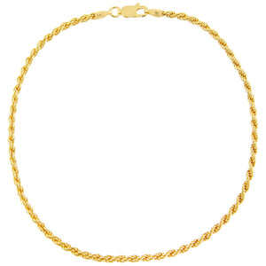 Gold Rope Chain Anklet - Adina's Jewels