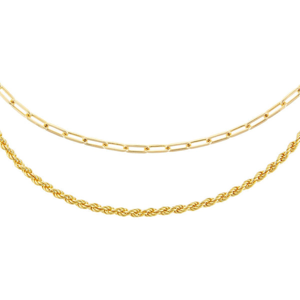 Gold Oval Link X Rope Chain Necklace Combo Set - Adina's Jewels