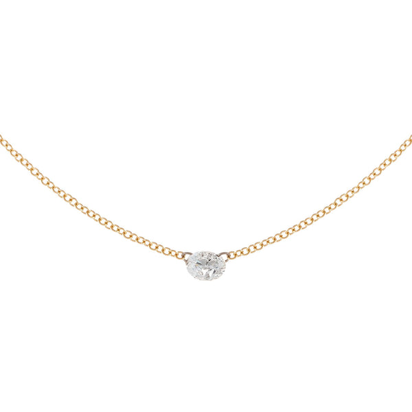 14K Gold Floating Round Diamond Necklace 18K - Adina's Jewels