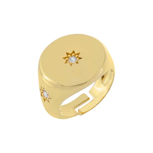 Gold CZ Starburst Pinky Ring - Adina's Jewels