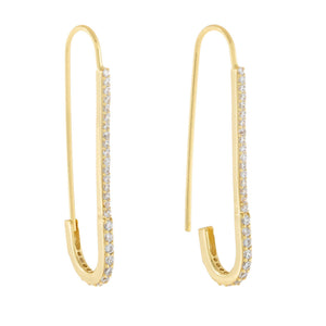 Pavé Thin Safety Pin Drop Earring Gold - Adina's Jewels
