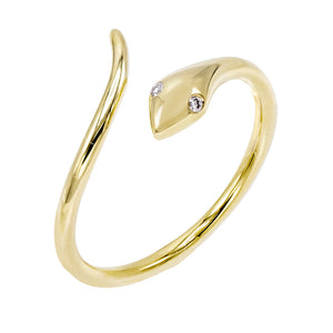 14K Gold / 7 Diamond Serpent Ring 14K - Adina's Jewels