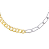 Gold Two Tone Cuban X Twisted Paperclip Necklace - Adina's Jewels