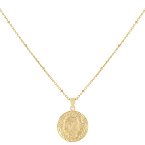 Gold / Small Vintage Coin Beaded Necklace - Adina's Jewels