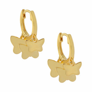 Multi Butterfly Huggie Earring Gold - Adina's Jewels