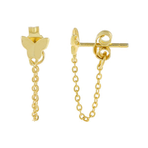 Gold Tiny Butterfly Chain Stud Earring - Adina's Jewels