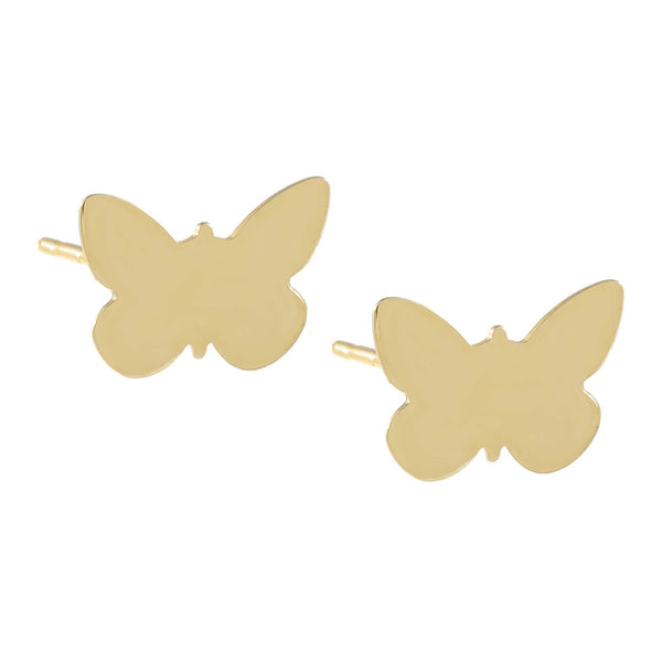 14K Gold Engraved Butterfly Stud Earring 14K - Adina's Jewels