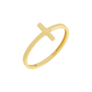 Solid Cross Ring 14K 14K Gold / 6 - Adina's Jewels