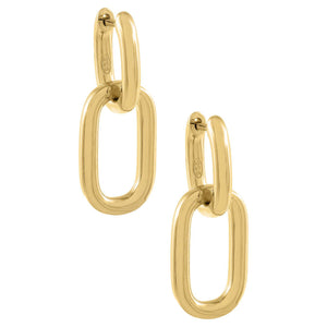 Oval Link Drop Huggie Earring Gold - Adina's Jewels