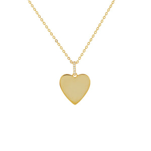 Gold Pavé X Solid Heart Necklace - Adina's Jewels