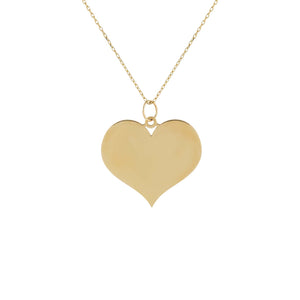 Engraved Large Heart Necklace 14K 14K Gold - Adina's Jewels