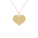 14K Gold Engraved Large Heart Necklace 14K - Adina's Jewels