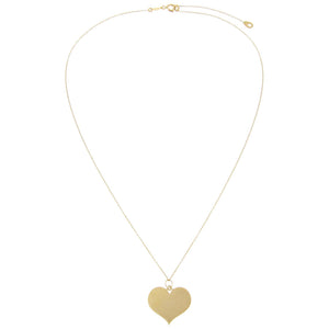 Engraved Large Heart Necklace 14K - Adina's Jewels