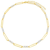 Gold CZ Oval Link Choker - Adina's Jewels